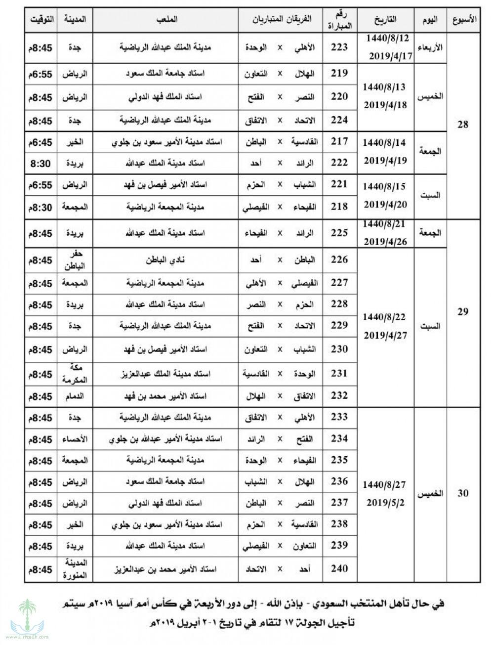 جدول الدور الثاني موقع شمس الاخباري