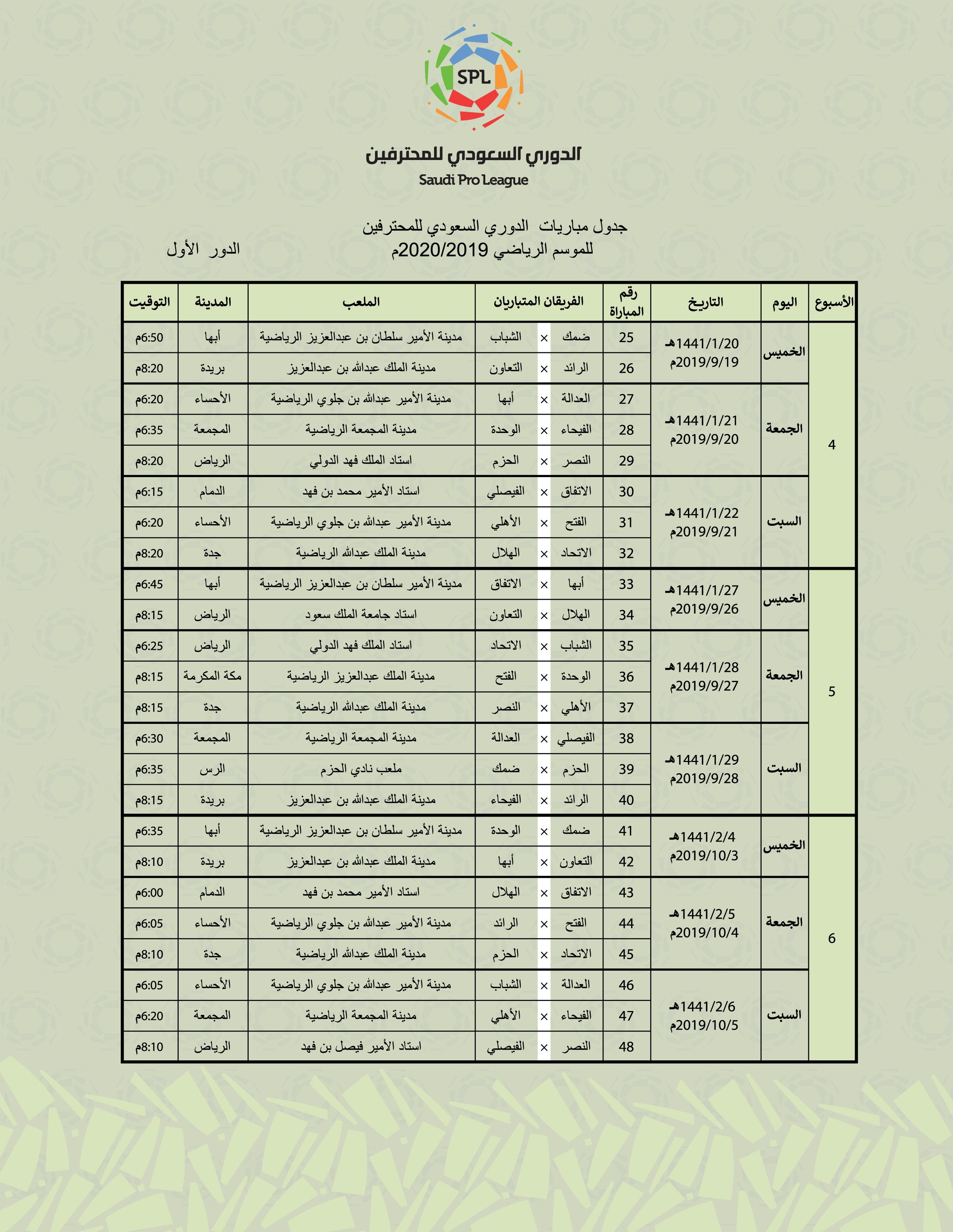 جدول مباريات الدوري السعودي الدور الثاني 2019