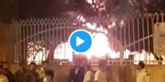 بالفيديو إيرانيون يشعلون النار في مستشفى بها مصابين بفيروس كورونا