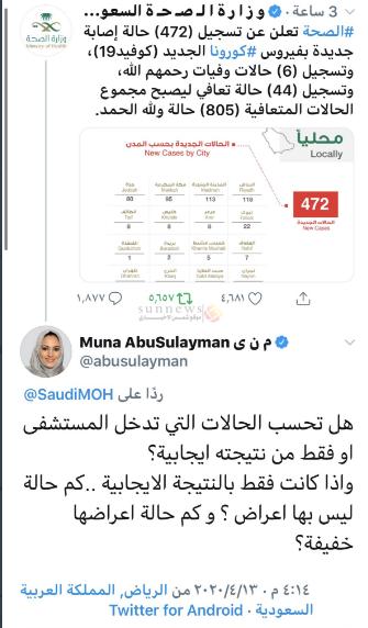 منى ابو سليمان في تغريدات على تويتر منى ابو سليمان حيث تشكك منى ابو سليمان باحصائيات فيروس كورونا اساءة منى ابو سليمان للسعودية