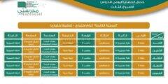 جدول دروس الحصص اليومية لجميع المراحل الدراسية من الأسبوع الثالث لعام 1442 هـ عبر قنوات عين التعليمية