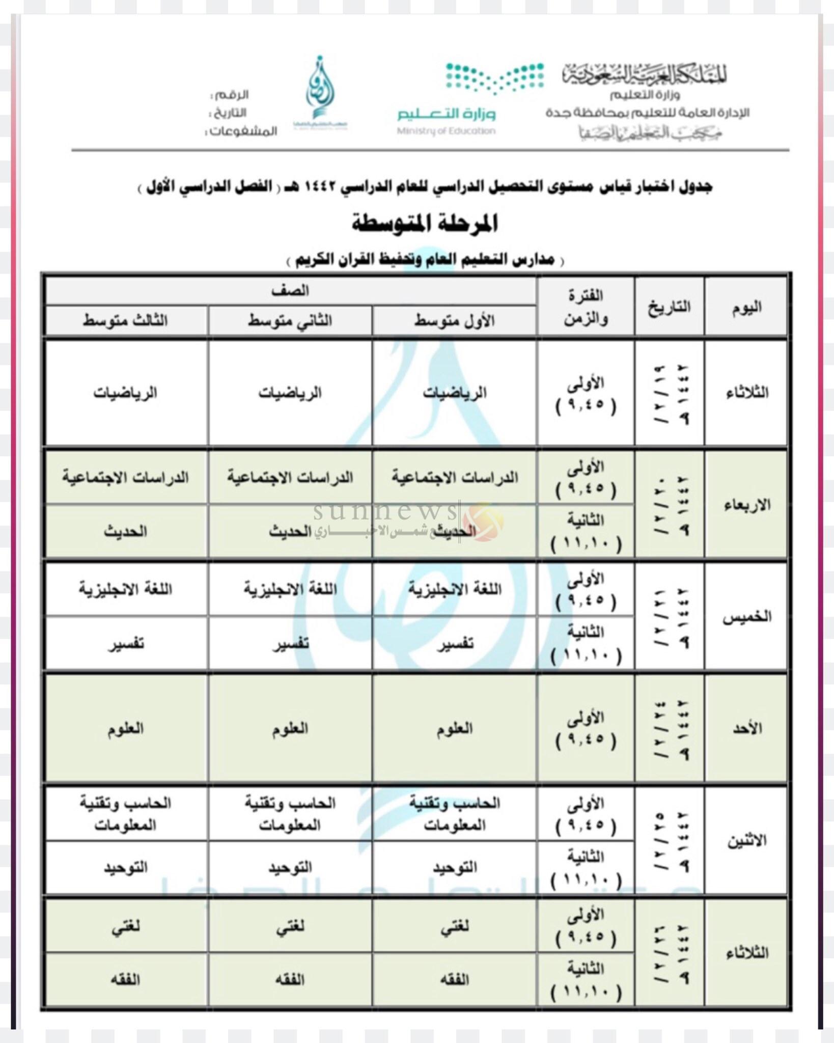 جدول الاختبارات النهائية الفصل الدراسي الأول للمرحلة الابتدائية والمتوسطة 1442 موقع شمس الاخباري